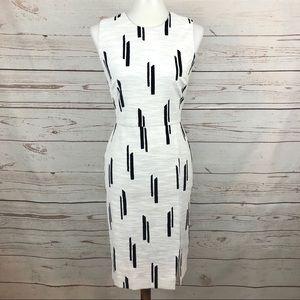 Ann Taylor White and Black Linen Sheath Dress